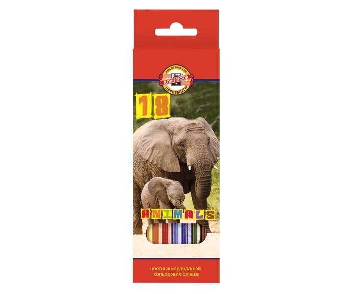 Карандаши, восковые мелки, пастель Koh-i-Noor Набор цветных карандашей Животные 18 цветов карандаши цветные koh i noor кохинор animal животные набор 18 цветов
