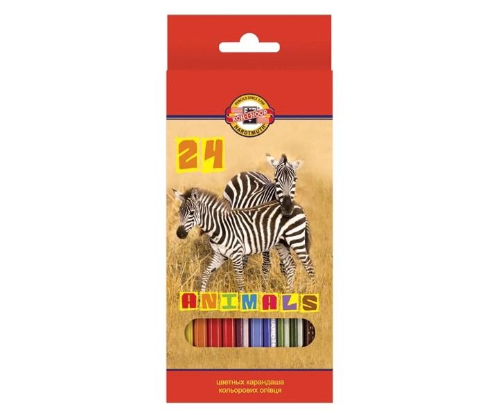 Карандаши, восковые мелки, пастель Koh-i-Noor Набор цветных карандашей Животные 24 цветов карандаши цветные koh i noor кохинор animal животные набор 18 цветов
