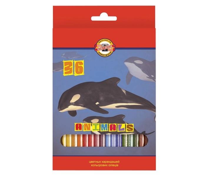 Карандаши, восковые мелки, пастель Koh-i-Noor Набор цветных карандашей Животные 36 цветов карандаши цветные koh i noor кохинор animal животные набор 18 цветов
