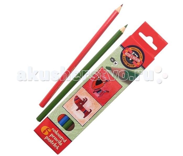 Карандаши, восковые мелки, пастель Koh-i-Noor Набор цветных карандашей Кошки+собаки 6 цветов набор цветных карандашей феникс лошадь 32869 деревянные 6 шт