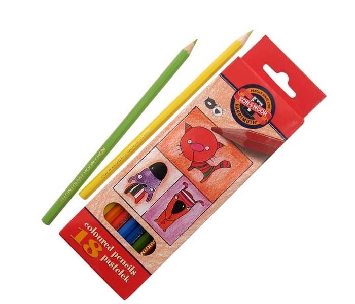 Карандаши, восковые мелки, пастель Koh-i-Noor Набор цветных карандашей Кошки+собаки 18 цветов карандаши восковые мелки пастель koh i noor набор цветных карандашей 70 лет великой победы 12 цветов