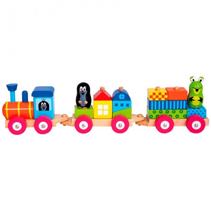 Деревянные игрушки Mertens Паровоз с домиками Маленький крот культиватор крот в красноярске