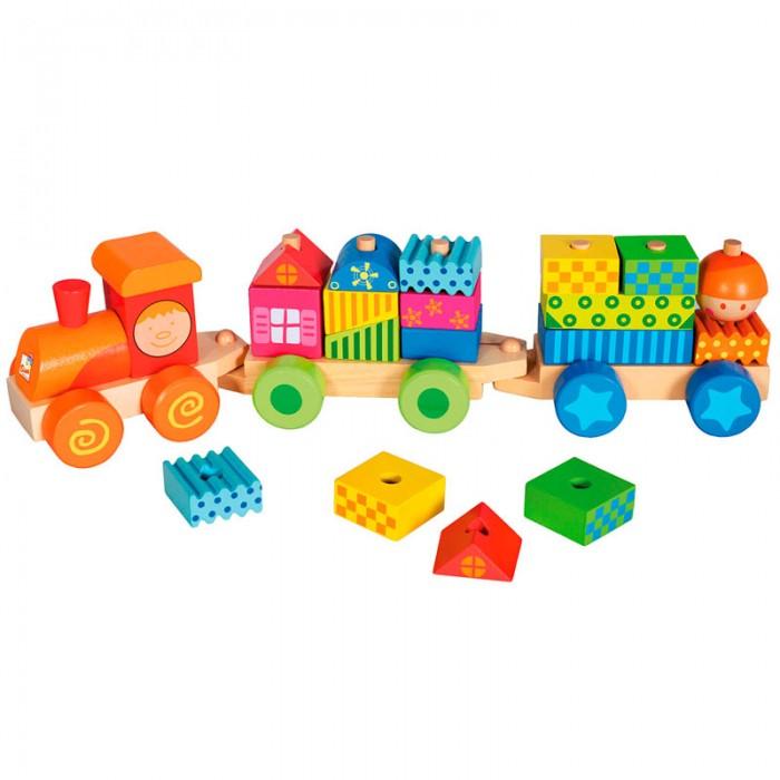 Деревянная игрушка Mertens Паровозик с домикамиПаровозик с домикамиBino Паровозик с домиками.  Красочный деревянный поезд с вагонами из кубиков предназначен для веселых игр Вашего малыша и обязательно очень ему понравится. Поезд состоит из 21 детали и ребенок сможет собрать его различными способами, нанизывая кубики на штыречки по типу пирамидки.   Игрушка способствует развитию мелкой моторики, фантазии и творческих способностей. Игрушка выполнена из хорошо обработанного дерева, окрашенного безопасными красками.<br>