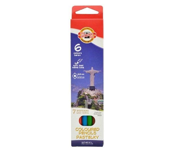 Карандаши, восковые мелки, пастель Koh-i-Noor Набор цветных карандашей 7 чудес света 6 цветов набор цветных карандашей феникс лошадь 32869 деревянные 6 шт