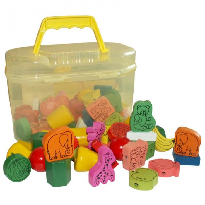 Деревянные игрушки QiQu Wooden Toy Factory Шнуровка-бусы Ассорти 60 деталей деревянные игрушки qiqu wooden toy factory поезд