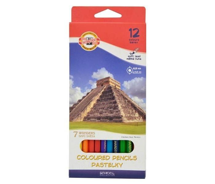Карандаши, восковые мелки, пастель Koh-i-Noor Набор цветных карандашей 7 чудес света 12 цветов bic набор цветных карандашей tropicolors 12 цветов