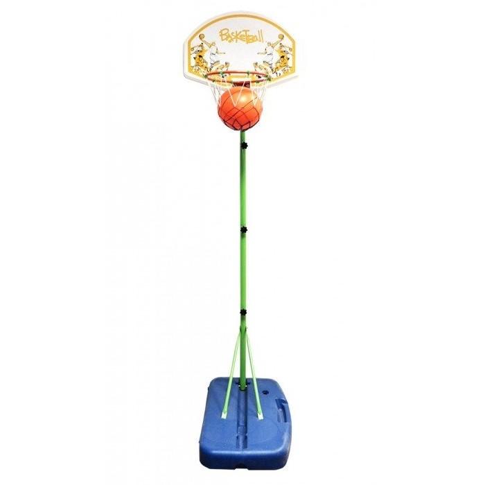 Moove&amp;Fun Детская баскетбольная стойка складная в чемоданеДетская баскетбольная стойка складная в чемоданеДетская баскетбольная стойка складная в чемодане - составная баскетбольная стойка, состоящая из четырёх стальных элементов, что позволяет регулировать высоту щита (3 положения). Играть можно как просто бросать мяч в корзину и вести подсчёт очков, так и устраивать настоящие матчи по стритболу. В состав комплекта входят стойка с основанием и щит с корзиной.  Баскетбольный набор, в комплект поставки входит: Стойка наполняемая - 1 Щит баскетбольный - 1 Корзина - 1 Мяч - 1 Насос - 1  Хорошее настроение в неограниченных количествах  Размер баскетбольного щита - 630 x 440 мм Диаметр баскетбольного кольца - 330 мм<br>