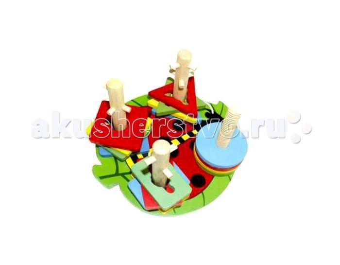 Деревянные игрушки QiQu Wooden Toy Factory Логическая игра Формы на палочках мицелий грибов вешенка рожковидная на 16 древесных палочках