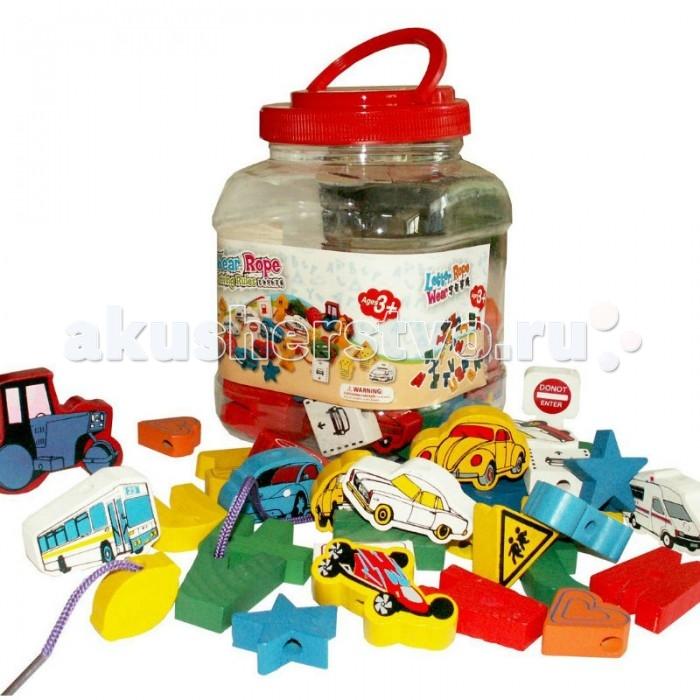 Деревянные игрушки QiQu Wooden Toy Factory Шнуровка Машинки пазлы qiqu wooden toy factory рамка вкладыш машинки