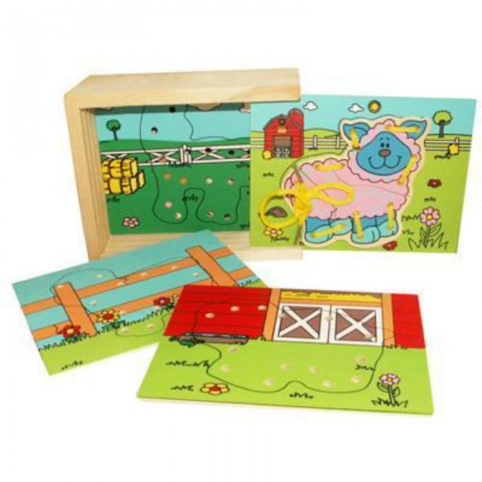 Деревянные игрушки QiQu Wooden Toy Factory Шнуровка Ферма пазлы qiqu wooden toy factory рамка вкладыш машинки