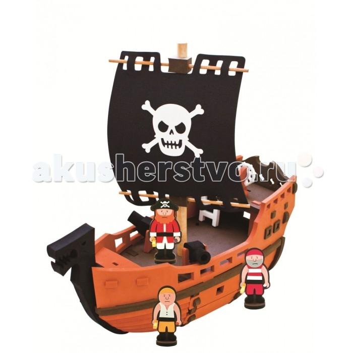 Конструктор Bebox Пиратский корабль 41 детальПиратский корабль 41 детальИгровой набор Пиратский корабль не позволит скучать вашему ребенку. Как весело ему будет сначала собрать корабль, а потом представлять себя капитаном пиратов!  Мягкий конструктор Bebox сделан из вспененного полимера, он не токсичен, не вызывает аллергии, прошел европейскую и российскую сертификации. Материал легкий и прочный, что выделяет его среди прочих конструкторов! После сборки конструктор хорошо и прочно держит форму, что позволяет свободно использовать его в игре. Ребенок может собирать и разбирать конструктор множество раз, а это развивает сосредоточенность, внимательность, двигательную память, мелкую моторику рук и воображение.  Благодаря тому, что конструктор выполнен из вспененного полимера, он свободно держится на воде и игрушки могут быть использованы для игры в ванне.  В набор входят:  3 игровых персонажа пиратский корабль<br>