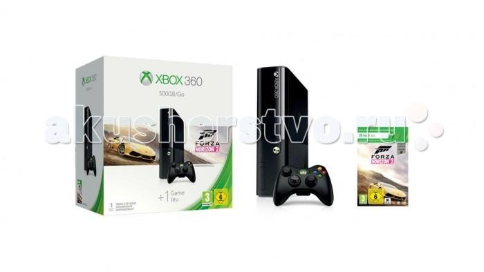 Microsoft Игровая приставка Xbox 360 E 500GB + код Forza Horizon 2Игровая приставка Xbox 360 E 500GB + код Forza Horizon 2Xbox 360 — это мощная развлекательная система нового поколения, которая дарит вам возможность наслаждаться высококачественными интерактивными развлечениями с графикой высокой четкости (HD, High Definition) и многоканальным объемным звуком. Это не просто игрушка — это новая эра развлечений. На Xbox 360 вы можете делать все, что только захотите — загружать, просматривать и даже интегрировать в игры разнообразный контент, перенося его с PC или USB-накопителей и USB-устройств, общаться и играть через Интернет, скачивать из Сети видеоролики, фильмы и сериалы, загружать демо-версии новейших игр и т.д. Xbox 360 — это лучшие HD-развлечения и игры здесь и сейчас.  Игры Xbox 360 переворачивает все представления о том, как должны выглядеть и звучать игры нового поколения. Игровой процесс теперь увлекателен и разнообразен как никогда прежде. Игры вызывают невероятно яркие эмоции и чувства. Все развлекательные проекты для Xbox 360 представлены либо в формате стандартной четкости SD 420p, либо в формате высокой четкости HD 720p и HD 1080i с широкоформатным соотношением сторон экрана 16:9, полноэкранным сглаживанием, плавной графикой кинематографического качества и многоканальным объемным звуком. Игры для Xbox 360 выглядят на обычных телевизорах стандартной четкости SD абсолютно невероятно, но на новых телевизорах высокой четкости Xbox 360 и при использовании многоканальных аудиосистем, проекты для этой развлекательной системы действительно поражают воображение качеством HD-графики и звука. Огромное количество деталей и достоверность происходящего на экране помогает с головой погрузиться в мир интерактивных развлечений. Для Xbox 360 выпускаются высококачественные игры самых разных жанров. В вашем распоряжении игровые блокбастеры от крупнейших разработчиков и издателей и захватывающие разнообразные и необычные проекты Xbox LIVE Arcade, которые помогут вам скорот