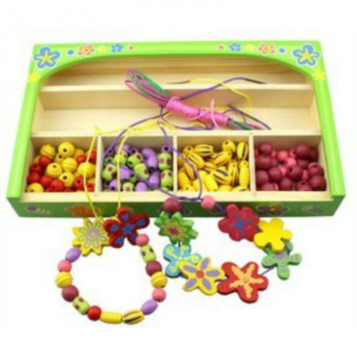 Наборы для творчества QiQu Wooden Toy Factory Шнуровка Бусы №1 в коробке abacus sorob baby puzzle wooden toy small abacus handcrafted educational toy children s wooden early learning kids math toy mz64