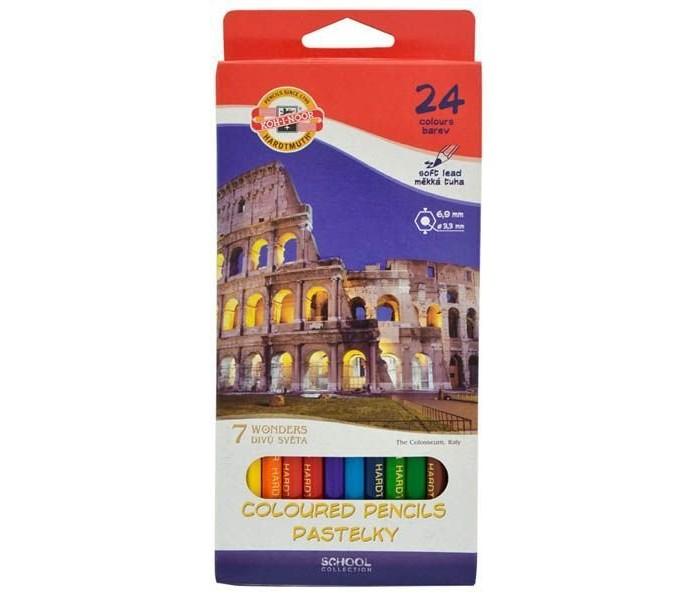 Карандаши, восковые мелки, пастель Koh-i-Noor Набор цветных карандашей 7 чудес света 24 цвета карандаши koh i noor набор карандашей 70 лет великой победы