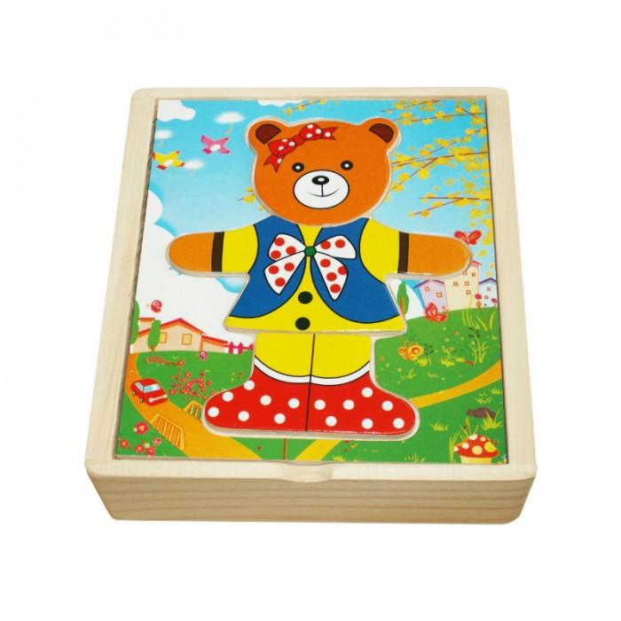 Пазлы QiQu Wooden Toy Factory Пазл Медвежонок Маша 18 деталей пазлы qiqu wooden toy factory рамка вкладыш машинки