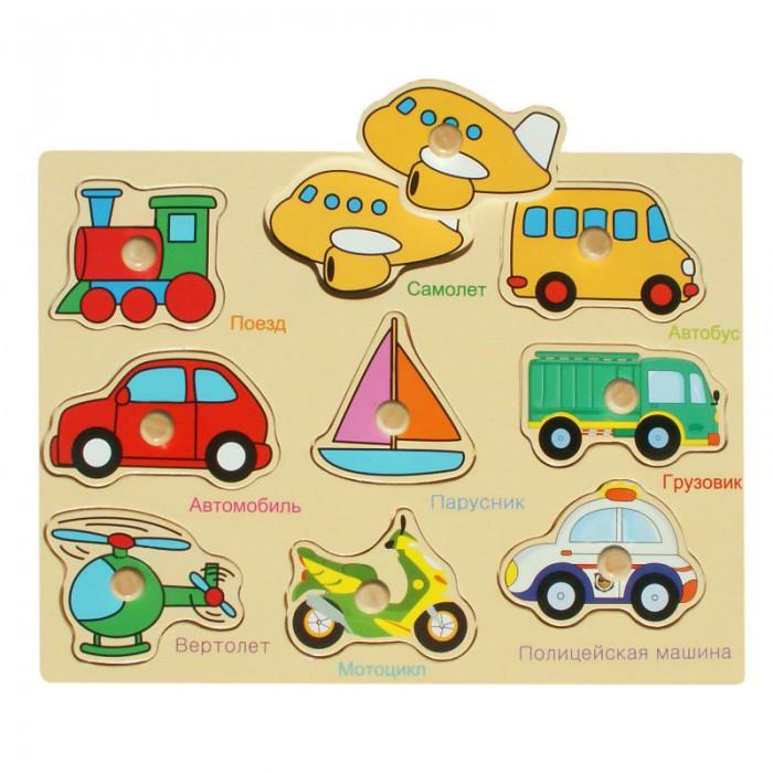 Пазлы QiQu Wooden Toy Factory Рамка-вкладыш Машинки пазлы бомик вкладыш бабочки
