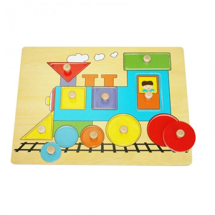 Пазлы QiQu Wooden Toy Factory Рамка-вкладыш Локомотив пазлы бомик мозаика локомотив