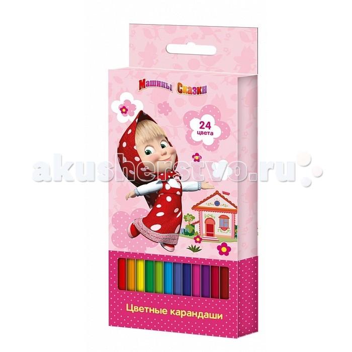 Карандаши, восковые мелки, пастель Росмэн Карандаши цветные Маша и Медведь 24 цвета росмэн цветные