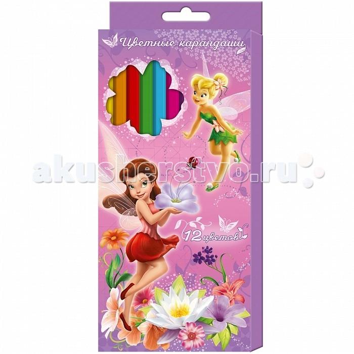 Карандаши, восковые мелки, пастель Росмэн Карандаши цветные Disney Феи 12 цветов карандаши цветные пластиковые тропикулер 2 12 цветов 832566