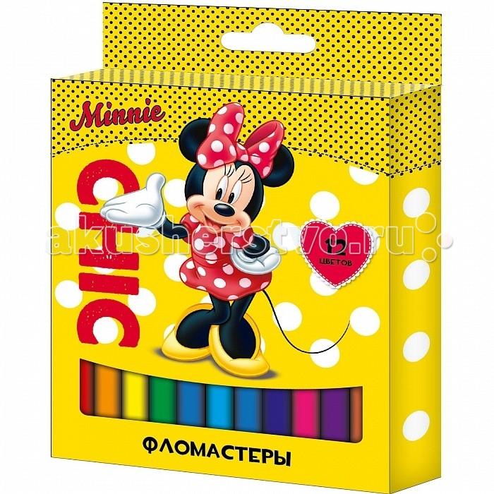 Фломастеры Росмэн Disney Минни 12 цветов росмэн минни линейка 12 листов в ассорт