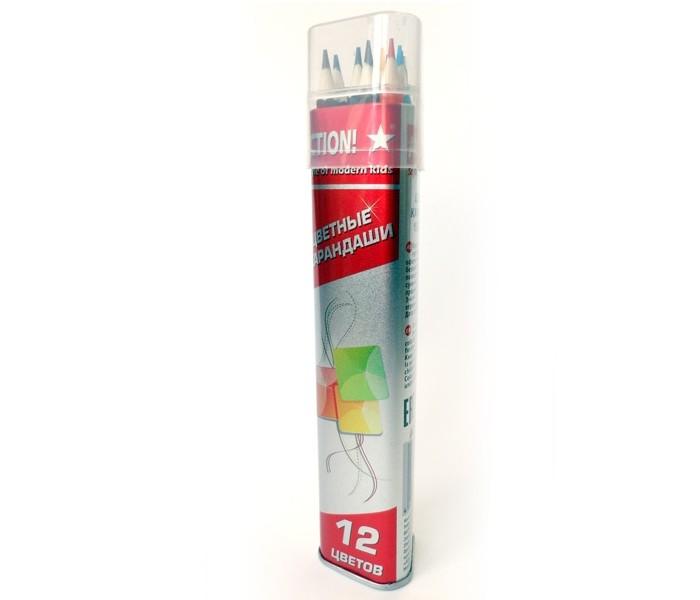 Карандаши, восковые мелки, пастель Action Набор карандашей 12 цв. набор цветных карандашей maped color peps 12 шт 683212 в тубусе подставке