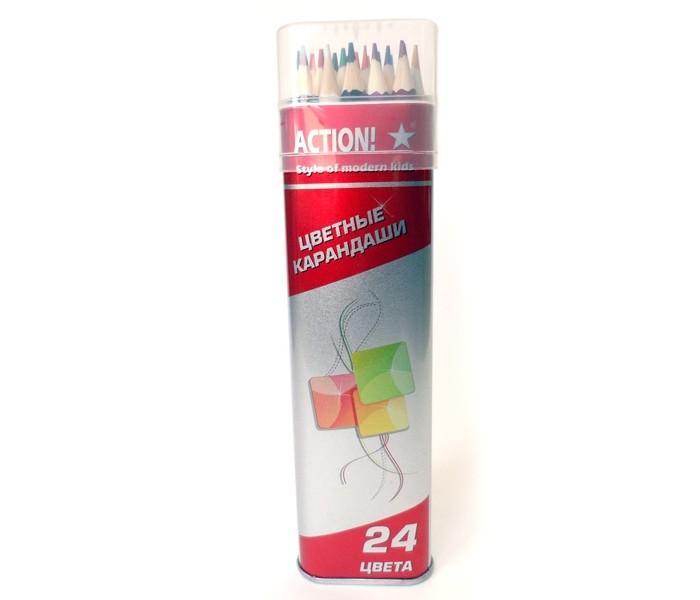 Карандаши, восковые мелки, пастель Action Набор карандашей 24 цв. карандаши восковые мелки пастель lejoys набор канцелярский в тубусе из крафт бумаги