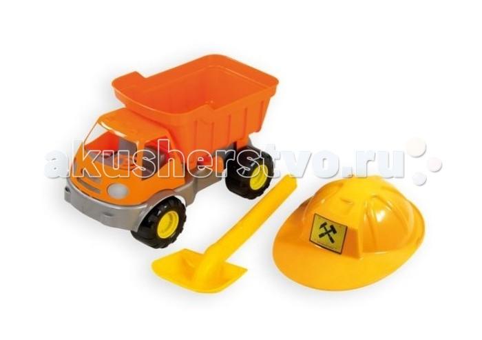 Игрушки в песочницу ZebraToys Набор для песка Самосвал c каской и лопатой