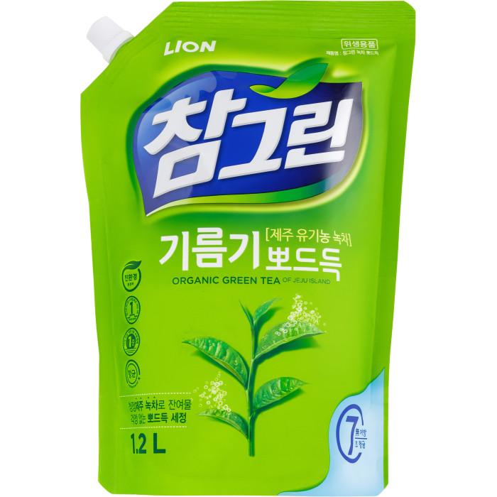 Бытовая химия CJ Lion Средство для мытья посуды Chamgreen С ароматом зеленого чая мягкая упаковка 1200 мл