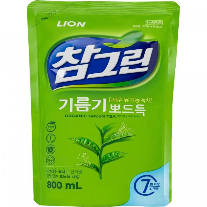 Бытовая химия CJ Lion Средство для мытья посуды Chamgreen С ароматом зеленого чая мягкая упаковка 800 мл средство для мытья посуды fruit acidic fresh с ароматом зеленого яблока 600 мл