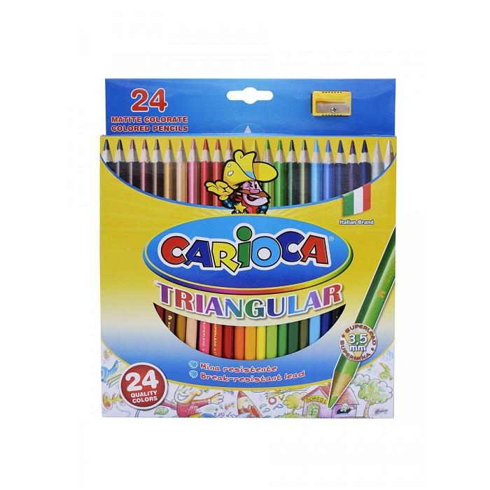 Карандаши, восковые мелки, пастель Carioca Набор карандашей TRIANGULAR 24 цвета + точилка universal набор карандашей цветных carioca triangular 12 цв трехгранные
