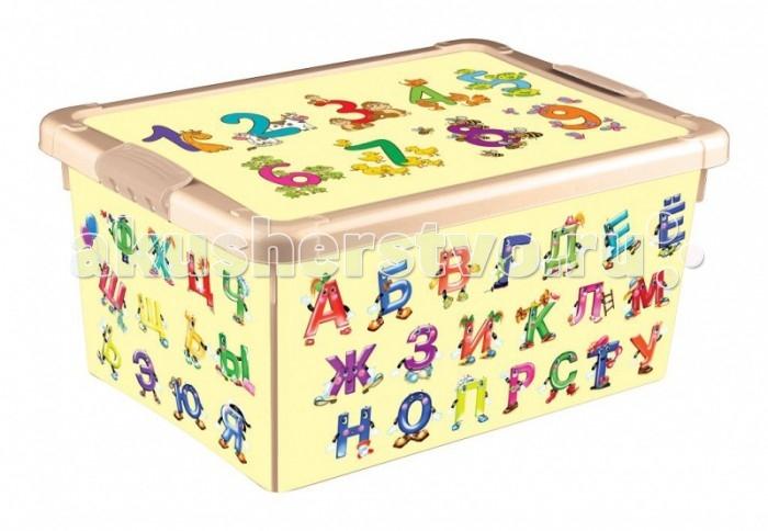Ящики для игрушек Пластишка Ящик универсальный с аппликацией Алфавит и Цифры 335х240х155 мм ящики для игрушек tomjerry ящик универсальный с аппликацией 33 5x24x15 5 см