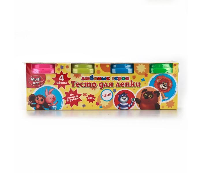 Всё для лепки Multiart Тесто для лепки Неон Союзмультфильм 4 цвета всё для лепки 1 toy набор теста для лепки кексы 4 цвета