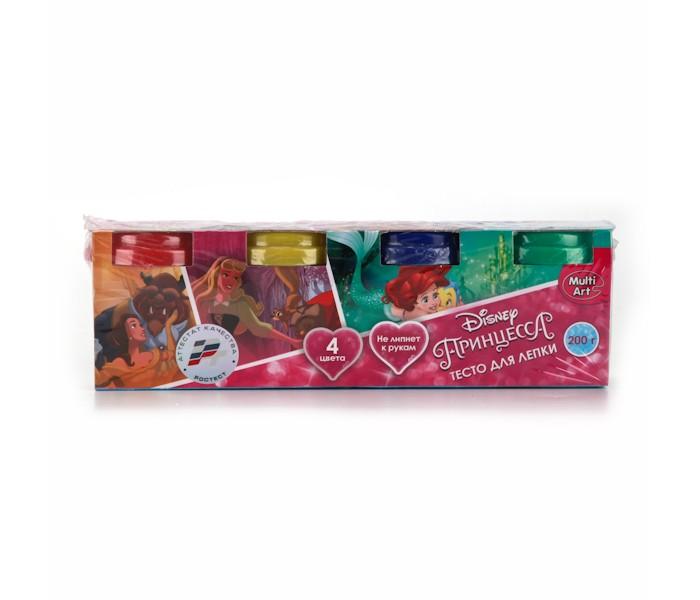 Всё для лепки Multiart Тесто для лепки Принцессы Disney 4 цвета всё для лепки 1 toy набор теста для лепки кексы 4 цвета