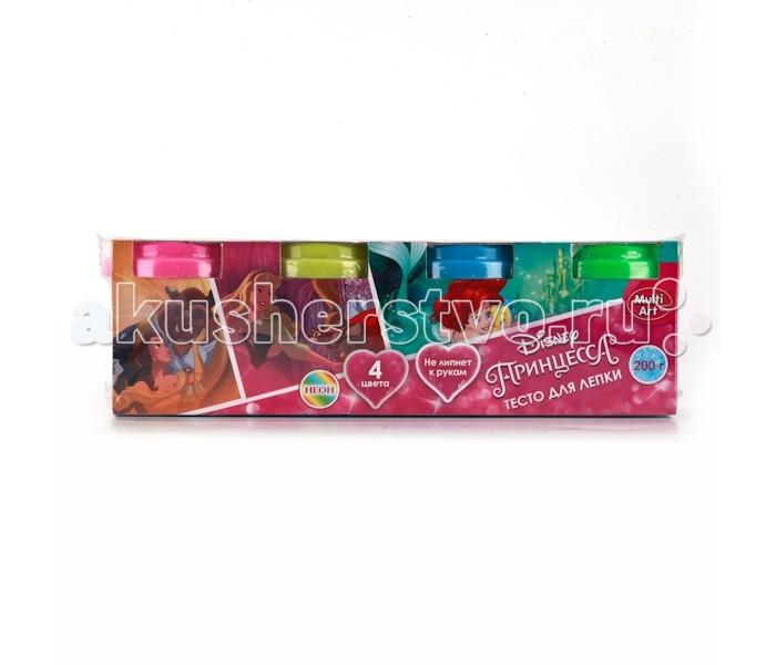 Всё для лепки Multiart Тесто для лепки Неон Принцессы Disney 4 цвета всё для лепки 1 toy набор теста для лепки кексы 4 цвета