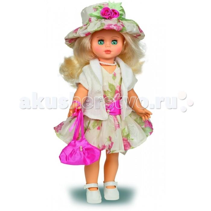 Весна Кукла Оля 12 со звуковым устройством 43 смКукла Оля 12 со звуковым устройством 43 смКукла Оля 12 со звуковым устройством 43 см серии «Моя любимая кукла» может стать настоящей подружкой для ребёнка. В комплект одежды входит: платье и шляпа из шифона, вязаное болеро, Комплект дополняют туфли. Производитель оставляет за собой право изменения цветовой гаммы одежды и волос куклы, цвет глаз может варьироваться. Игровые и дидактические возможности куклы: при нажатии на звуковое устройство, вставленное в спинку, кукла произносит фразы. Наличие элементов одежды, которые легко снимаются и надеваются, аксессуара-сумочки из креп-сатина с бусинами разнообразит возможности сюжетно-ролевых игр с этой куклой, в процессе которых развивается мелкая моторика и творческое воображение ребёнка.   Прекрасные прошитые волосы из качественного нейлона, похожие на натуральные, можно завивать, расчёсывать, укладывать в разные причёски, меняя образ куклы.   Рост куклы 43 см. Кукла Оля Весна 12 озвучена. Глаза вставные закрывающиеся. Тело куклы пропорционально. Ручки и голова выполнены из эластичного, приятного на ощупь винила, а туловище и ноги из пластмассы.   Дополнительно к кукле можно приобрести комплект одежды.  Кукла произносит следующие фразы:  -Привет! Давай потанцуем. -Я люблю музыку. -Возьми меня за ручки. -Покружись со мной. -Как здорово! -А сейчас спой мне песенку. -А другую песенку… -Мне очень нравится!<br>