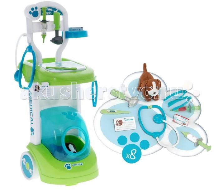 Smoby Тележка доктора-ветеринараТележка доктора-ветеринараВетеринарная тележка Smoby будет интересна уже 2-хлетним деткам, ведь любовь к животным развита у детей с малых лет.  Выполнен игровой набор из безопасной для детей, высококачественной и прочной пластмассы, окрашенной нетоксичными красками.  В комплект входят:  - двухколесная тележка;  - мягкая игрушка-собачка, которая может быть как пациентом, так и маленьким помощником юного ветеринара;  - медицинская карточка пациента;  - стетоскоп;  - шприц;  - медицинский пинцет;  - молоточек;  - коробочка для пилюль;  - миска для питомца.   На тележке ветеринара предусмотрены специальные приспособления в виде удобных крючков и полочки для расположения необходимых принадлежностей.  Кроме того, в ней есть небольшой домик-будка для плюшевой собачки, входящей в игровой набор.  Играя с ветеринарной тележкой Smoby малыш будет развивать моторику ручек, координацию движений, внимание, воображение, а еще расширять свой словарный запас.  Размер ветеринарной тележки - 70 х 32 х 24 см.  Размер мягкой игрушки собачки - 16 х 12 х 10 см.<br>
