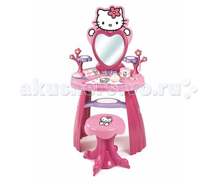 Smoby Студия красоты Hello Kitty со стульчикомСтудия красоты Hello Kitty со стульчикомСтудия красоты Hello Kitty со стульчиком - для увлекательной игры маленькой девочки определенно нужен этот замечательный набор, куда входит туалетный столик с регулируемым наклоном зеркала, стульчик и различные аксессуары. Набор выполнен в розовом цвете, в стиле японской кошечки Hello Kitty, что бесспорно понравиться юной леди.<br>