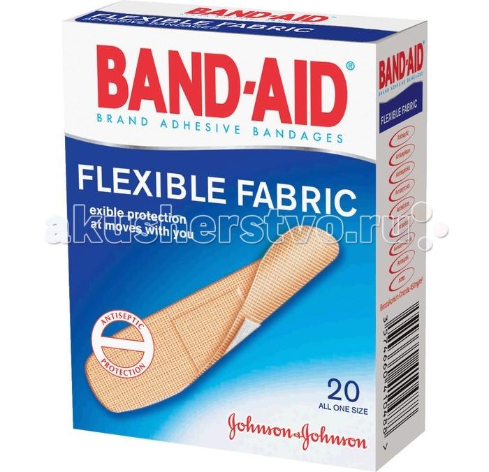 Косметика для мамы Johnson's Baby Band-Aid Пластырь Антисептический Эластичный 20 шт.