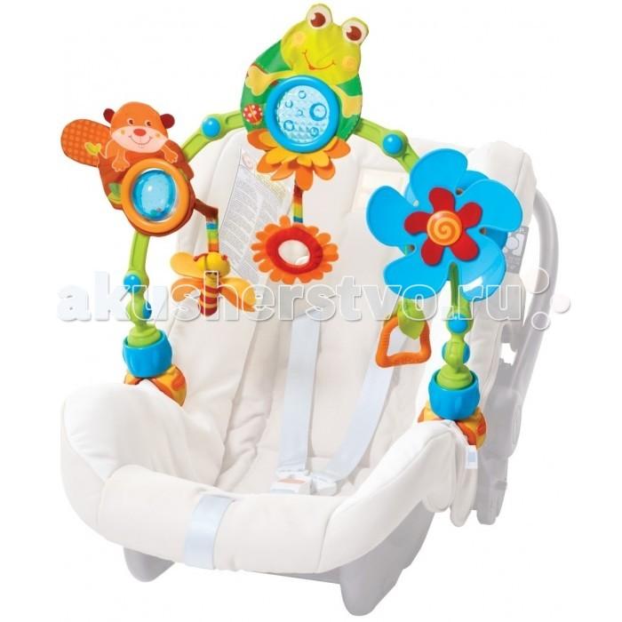 Tiny Love Дуга-трансформер Лесное ОзероДуга-трансформер Лесное ОзероУниверсальная Дуга-трансформер Лесное Озеро Tiny Love устанавливается на автокресла и коляски, с целью заполнить досуг малыша на прогулке и в путешествии.  На дуге располагаются механические и подвесные игрушки, текстурированные элементы. Игрушки заполняющие дугу направлены на развитие ребенка от 0 до 18 месяцев.  Преимущества:  Шарнирная дуга с универсальным креплением-клипсой (фиксатором) Дуга выполнена из плотных пластиковых пластин Регулироваться по высоте Дуга подходит для всех вариантов детских прогулочных колясок.    Размер дуги:: 48х30х7 см Размер упаковки:: 50х31х7 см Материал: текстиль, пластмасса высокого качества<br>