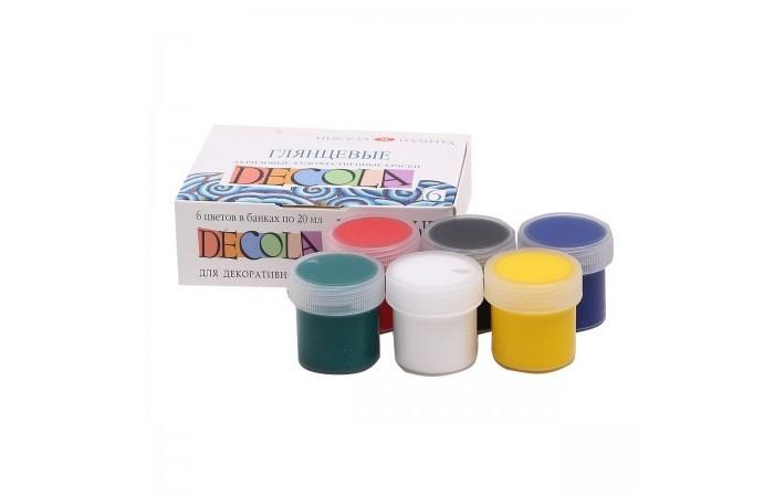 Краски Decola Акрил глянцевый 6 цветов банка 20 мл decola перламутровые акриловые художественные краски 6 цветов