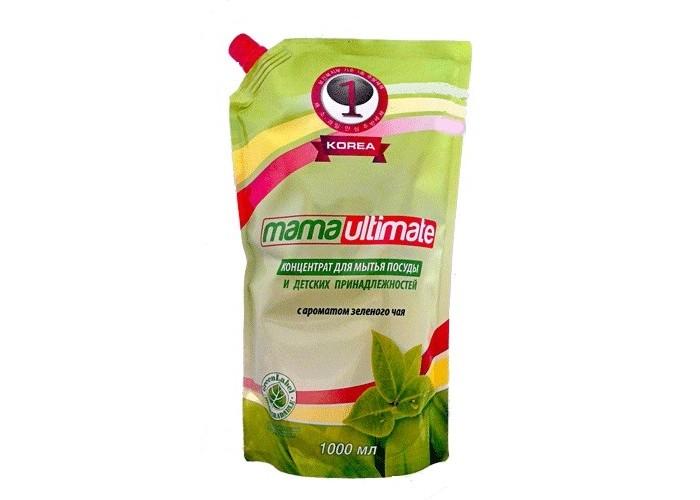 концентрат для мытья посуды и детских принадлежностей mama ultimate с ароматом зеленого чая 1 л Бытовая химия Mama Ultimate Концентрированное средство для мытья посуды Зеленый чай запасной блок с крышкой 1000 мл