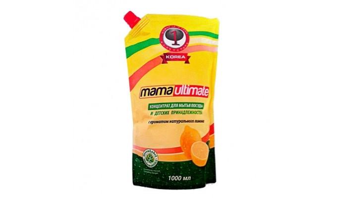 цены Бытовая химия Mama Ultimate Концентрированное средство для мытья посуды Лимон запасной блок с крышкой 1000 мл