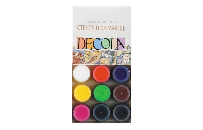 Краски Decola Акрил по стеклу и керамике 9 цветов банка 20 мл круг алмазный по керамике 1a1r ceramics elite 200x1 6x7 0x25 4 diam 000547