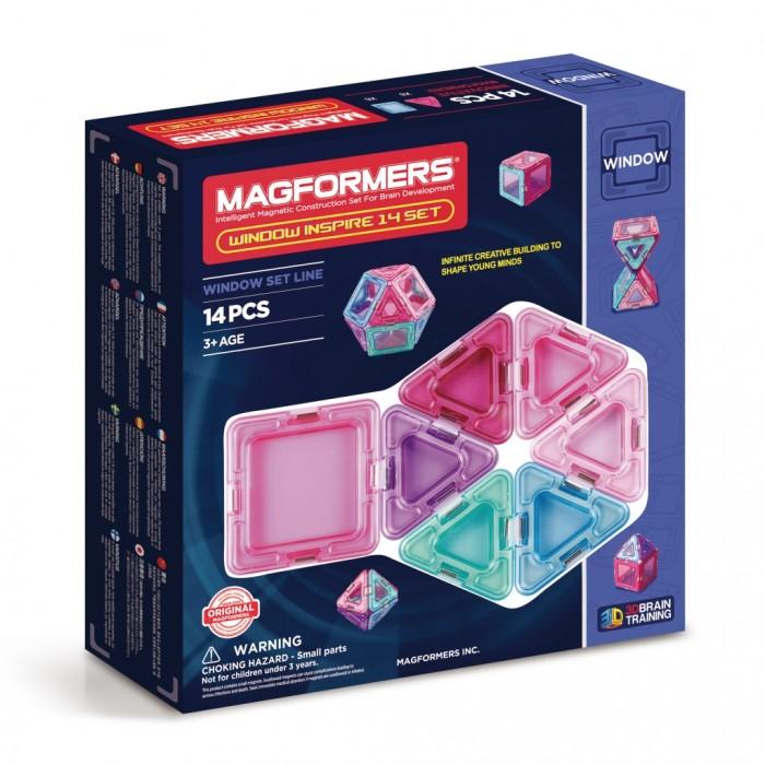 Конструктор Magformers Магнитный Window Inspire 14 setМагнитный Window Inspire 14 setМагнитный конструктор Magformers Window Inspire 14 set   В семействе конструкторов Магформерс появилась новая серия магнитных наборов - Window! Отличительной особенностью этой серии является то, что во все детали вмонтированы окошки из прозрачного пластика в цвет детали. Более того, все компоненты выполнены в мягких пастельных цветах. Нежные оттенки розового, фиолетового и голубого особенно придутся по душе девочкам.  Набор прекрасно подойдет тем, кто только начинает знакомство с магнитными конструкторами Магформерс. В его состав входят квадраты и треугольники. С этими базовыми деталями ребенок быстро освоит построение предметов на плоскости, а затем с легкостью перейдет к конструированию трехмерных моделей. Каждая деталь содержит окошко из цветного прозрачного пластика, что открывает новые возможности для творчества.  Все элементы Magformers Window Inspire 14 также совместимы с любыми другими наборами Магформерс, что позволяет пополнить уже имеющуюся коллекцию новыми необычными цветами и расширить варианты возможных построек.  Как и все элементы Магформерс, детали линейки Магформерс Window Inspire изготовлены из прочного материала, отвечающего всем современным стандартам качества в игрушечной индустрии.  Набор содержит 14 элементов: - сплошной треугольник: 8 шт. - сплошной квадрат: 6 шт.<br>
