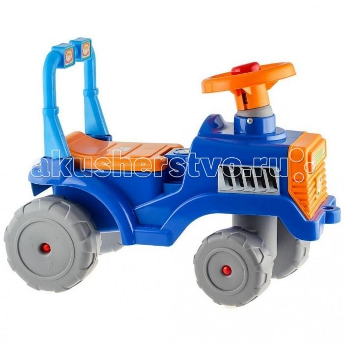 Каталка R-Toys Трактор ВТрактор ВЭто прекрасное транспортное средство очарует Вашего малыша с первого взгляда. А когда он поймет это полезные свойства, он не расстанется с ним до тех пор, пока не вырастет.  Трактор-каталку можно использовать как ходунки и как машинку-каталку. Ходунки для детей от 10 месяцев. Благодаря специальной ручке за сиденьем каталки, ребенок может опираться на машинку и делать свои первые шаги. Также эту удобную ручку может использовать взрослый для переноса каталки. Трактор-каталка для детей от 12 месяцев. Благодаря небольшим выступам-подножкам по бокам трактора , Вы сможете катить малыша. Он будет сидеть за рулем машинки, держаться за руль, а ножки сможет поставить на боковые подножки. Но малышам еще не хватает сил толкаться ногами и ехать, поэтому Вы можете привязать веревку за специальное отверстие впереди трактора и возить малыша за веревку. Вы сможете катить машинку с ребенком, ножки которого будут безопасно отдыхать на боковых подножках. Трактор-каталка для самостоятельного использования малышами от 12 месяцев. Благодаря высокой спинке, ребенку будет очень комфортно на этом тракторе. Эта каталка идеально подходит для катания дома, на детских площадках, во дворах и парках.  Сначала трактор-каталку можно использовать для катания малыша по дому, а когда Ваш малыш подрастет, Вы можете смело использовать её для прогулок на улице. Для комфортной прогулки предусмотрены боковые подножки и удобная спинка сидения. Когда малышу всего полгода, каталка используется как ходунки, которая хорошо подойдёт для обучения первым шагам. А немного повзрослев ребёнок сможет ездить в машине-каталке без родительской помощи.   Но и это ещё не всё. Под сиденьем каталки имеется багажное отделение, в которое Ваш ребёнок может сложить свои любимые игрушки. Они понадобятся ему в путешествии.   Большие широкие колеса c глубоким протектором позволяют трактору передвигаться по любой поверхности дороги – асфальту, лужам, грунту, камням, песку и траве. У трактора – 4 колес