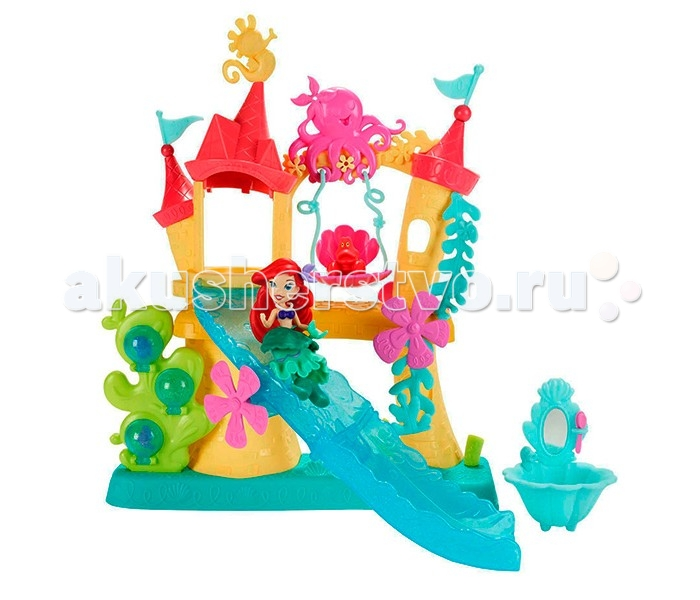 Hasbro Disney Princess Замок Ариель для игры с водойDisney Princess Замок Ариель для игры с водойHasbro Disney Princess Замок Ариель для игры с водой подарит массу радости и удовольствия Вашему ребёнку.  Особенности: Присоединяйся к огненно-рыжей красавице русалочке и ее другу, крабу Себастьяну - отправляйся в волшебный замок Ариэль и порезвись, катаясь с водной горки!  В набор входит замок с горкой и качелями, изящный умывальник, а также фигурка Ариэль и Себастьяна.  Кроме того, у девочки появится возможность самостоятельно декорировать фигурку русалочки: для этого в комплект также входят различные аксессуары.  С набором можно играть в ванной - тогда купание станет веселее!<br>