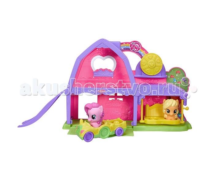 My Little Pony Игровой набор Ферма Эппл ДжекИгровой набор Ферма Эппл ДжекHasbro Игровой набор My Little Pony Ферма Эппл Джек создана для всех любителей мультсериала My Little Pony.   Мои маленькие пони - это мультфильм о нерушимой дружбе главных героев, которые, несмотря на многочисленные события, остаются вместе.   В набор входит две фигурки пони - Эппл Джек и Пинки Пай. Вместе они путешествуют по милой ферме, катаются с горки и просто весело проводят время.   Малыш получит массу удовольствия, играя в такую яркую и веселую игрушку.<br>
