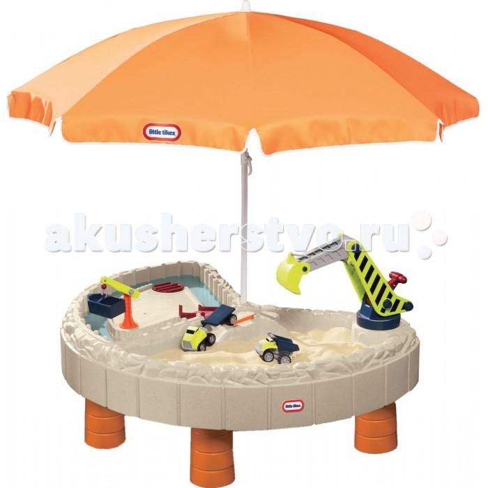 Little Tikes Песочница с зонтом и зоной для водыПесочница с зонтом и зоной для водыПесочница Little Tikes с зонтом и зоной для воды дает возможность малышу играть одновременно и с водой и с песком - игрушка разделена на две секции.  Особенности: Большой оранжевый зонт защитит ребенка и от солнца и от дождика, а отсутствие острых углов позволят вам не беспокоится за безопасность вашего малыша.  Особая конструкция песочницы Литл Тайкс позволяет играть в ней сразу нескольким малышам.  Если столик не используется для игр, советуем закрывать его крышками.  Она отлично будет смотреться в интерьере любого загородного участка. Песочница Little Tikes станет отличным подарком для вашего ребенка! Столик закрывается специальными крышками, которые защитят от дождя, пыли и домашних животных. Выполнен из ударопрочного пластика, выдерживающего перепады температур Выдерживает температуру до -18 С. 2 игровые зоны: с песком и водой Зонтик защищает от солнца Столик закрывается крышками из комплекта  В комплекте: небольшой подъемный кран строительный ковш 2 грузовика ворота мостики.  Размеры игрового стола: 120 х 83 х 48 см.<br>