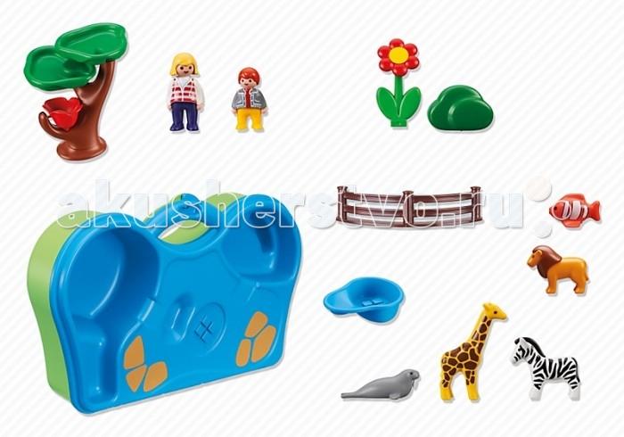Конструктор Playmobil 1.2.3.: Зоопарк и Аквариум возьми с собой1.2.3.: Зоопарк и Аквариум возьми с собойPlaymobil 1.2.3.: Зоопарк и Аквариум возьми с собой  Позволит малышам в любом месте построить свой собственный зоопарк с бассейном. В нем есть все, что нужно - и животные (жираф, лев, зебра, морж и рыбка), и вольер, и удивительное дерево-фонтан. Все детали собраны в удобный чемоданчик с необходимым рельефом, который при раскладывании становится основой удивительного зоопарка. Активировать фонтан также очень просто, для этого достаточно лишь зачерпнуть воду в специальный ковшик, налить её сверху на деревце, и весь механизм придет в движение.  Все фигурки людей имеют подвижные ноги, что делает игру интереснее. Фигурки рыбки и моржа плавают в воде, не заваливаясь на бок. Все детали конструктора выполнены максимально реалистично. Используя воображение, любой малыш самостоятельно или с друзьями сможет разыграть множество разных сценок с обитателями зоопарка и бассейна. Конструктор выполнен из высококачественного нетоксичного пластика и безопасен для ребенка.  Дополнительно: Высота фигурок человека: 7 см Размер упаковки: 40.9 х 8.7 х 24.2 см Вес упаковки: 1.3 кг  В комплекте:  2 фигурки человечков 5 фигурок животных 1 упаковка-подставка аксессуары для бассейна и вольера<br>