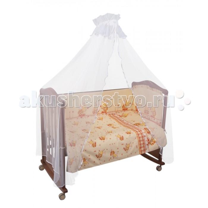 Комплект в кроватку Сонный гномик Пчелки (4 предмета)Пчелки (4 предмета)Постельное белье Сонный гномик Пчелки из 4-х предметов.    Особенности  из самого нежного 100% хлопка   деликатные швы, которые рассчитаны на прикосновение к нежной коже ребёнка  белье полностью безопасное и гипоаллергенное.   В комплекте:   наволочка (40х60 см)  простынь не на резинке (100х140 см)  пододеяльник (110х140 см)  борт из 4 частей (360х38 см)<br>